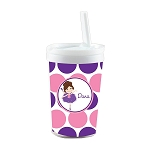 Pink and Purple Brunette Ballerina Personalized Built in Straw Tumbler