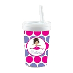 Pink and Purple Multicultural Ballerina Personalized Built in Straw Tumbler