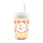 Pink and Yellow Blonde Ballerina Personalized Built in Straw Tumbler