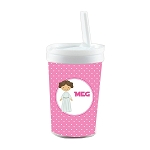 Pink Galaxy Princess Built in Straw Tumbler