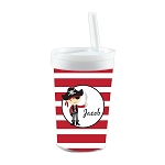 Striped Red Pirate Built in Straw Tumbler