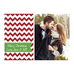 Red and Green Chevron Custom Christmas Card