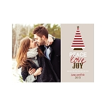 Red Striped Custom Christmas Card