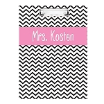 Black Chevron Pink Ribboned Double Sided Clipboard