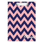 Pink and Blue Chevron Personalized Double Sided Hardboard Clipboard