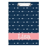 Blue Horizontal Arrows with Pink Personalized Double Sided Hardboard Clipboard