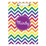 Bright Chevron with Purple Personalized Double Sided Hardboard Clipboard