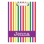 Bright Vertical Stripes with Purple Personalized Double Sided Hardboard Clipboard