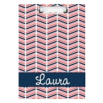 Coral and Blue Patterned Personalized Double Sided Hardboard Clipboard