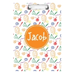 Hand Sketched Art Elements with Orange Personalized Double Sided Hardboard Clipboard