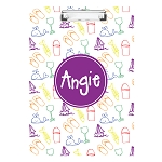 Hand Sketched Beach Life Elements with Purple Personalized Double Sided Hardboard Clipboard