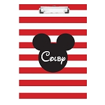 Red Striped Mouse Ears Personalized Double Sided Hardboard Clipboard