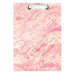 Coral and Pink Marbled Personalized Double Sided Hardboard Clipboard