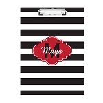 Black Striped Red Frame Personalized Double Sided Hardboard Clipboard