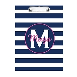 Blue Striped Pink Monogram Personalized Double Sided Hardboard Clipboard