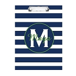 Blue Striped Green Monogram Personalized Double Sided Hardboard Clipboard