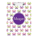 Girlie Butterflies Purple Personalized Double Sided Hardboard Clipboard