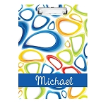Multicolored Ovals Personalized Double Sided Hardboard Clipboard