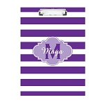 Purple Striped Purple Monogram Personalized Double Sided Hardboard Clipboard