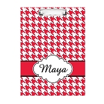 Red Houndstooth Personalized Double Sided Hardboard Clipboard
