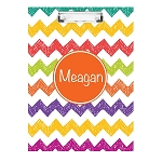 Sketched Multicolored Chevron Personalized Double Sided Hardboard Clipboard