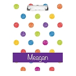 Sketched Multicolored Dots Personalized Double Sided Hardboard Clipboard
