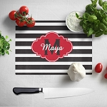 Black Striped with Red Glass Cutting Board