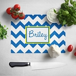 Blue Chevron Glass Cutting Board