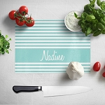 Elegant Blue Stripes Glass Cutting Board