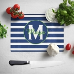Blue Striped with Green Glass Cutting Board