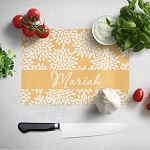 Gold Floral 2 Glass Cutting Board