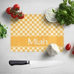 Gold Gingham Glass Cutting Board