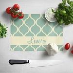 Green Fence Patterned Glass Cutting Board
