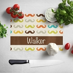 Multicolored Mustache Glass Cutting Board