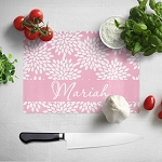 Pink Floral 2 Glass Cutting Board