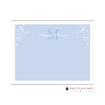 Blue Floral Accent Custom Thank You Card  by Stacy Claire Boyd