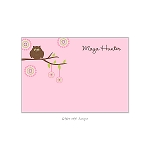 Embellished Pink Owl Custom Thank You Card by Take Note Designs