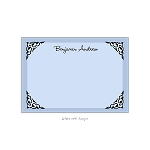 Blue Ornamental Framed Custom Thank You Card by Take Note Designs