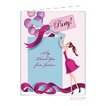 Brunette Party Girl Custom Folded Thank You Card by Bonnie Marcus