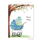 Blue Stroller Custom Folded Thank You Card by Bonnie Marcus
