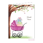 Pink Stroller Custom Folded Thank You Card by Bonnie Marcus