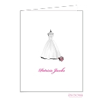 Simple Bridal Dress Custom Folded Thank You Card by Bonnie Marcus