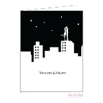 Cityscape Couple Custom Folded Thank You Card by Bonnie Marcus