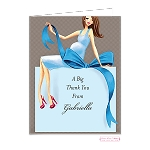 Brunette Mom in Blue Custom Folded Thank You Card by Bonnie Marcus