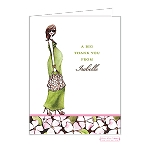 Chic Mom in Green Custom Folded Thank You Card by Bonnie Marcus