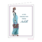 Brunette Chic Mom Custom Folded Thank You Card by Bonnie Marcus