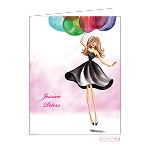 Brunette with Balloons Custom Folded Thank You Card by Bonnie Marcus