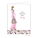Blonde in Pink 2 Custom Folded Thank You Card by Bonnie Marcus