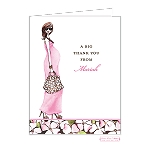 Brunette in Pink 2 Custom Folded Thank You Card by Bonnie Marcus