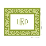 Green Iron Scroll Custom Folded Thank You Card by Stacy Claire Boyd